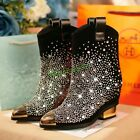 Womens Europe Lady Bling Pointy Toe Shiny Mid Block Luxury Rhinestone Ankle Boot