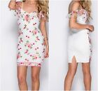 NEW LADIES FLORAL EMBROIDERED COLD SHOULDER BODYCON DRESS WHITE- FLORAL UK6-14