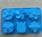 6-Mix Flowers Soap Mold Flexible Silicone Mold For Handmade Candy Chocolate Cake