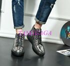 Mens Texture Leather Lace-up High Top Casual Pantshoes Cool Punk Leisure Shoes