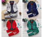 2PC Toddler Baby Boys Kids Gentleman Tops+ Long Pants Clothes Suits Outfits Sets
