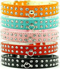 "2017 Studded Rhinestone Dog Pet Puppy PU Leather Collars Small Medium 10""-15"""