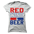 Red Wine And Beer Funny Drinking USA America Women's Shirt H64