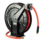 Spring Retractable 9m - 20m Air Hose Reel Compressor Heavy Duty Steel 10mm Bore <br/> With Fixings For Floor Or Wall Mounting Steel Hose Reel