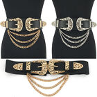 WOMEN Western Fashion ELASTIC Bri Bri WAIST HIP Wide Metal Chain BELT Stretch