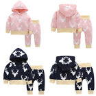Newborn Infant Baby Girl Clothes Hoodie Tops+Deer Pants Leggings 2Pcs Outfits
