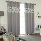 """Geometric Accented Blackout Curtains Eyelet Grommet 102""""W X 92""""H Pair Gray Blue"""