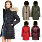 New Ladies Shiny Wet Look Belted Long Quilted Fur Hooded Women's Jacket Coat