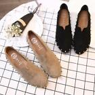 Womens Suede Flat Rivets Casual Shoes Round Toe Oxfords Creepers