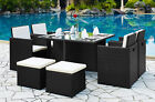 Rattan Garden Furniture Set 9pc Table High Back Chairs Footstool Outdoor Patio