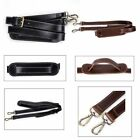 Genuine Leather Padded Replacement Travel Shoulder Bag Briefcase Strap 2 Hooks