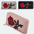 Women Zipper Long Wallet Clutch Card Coin Holder Soft PU Leather Rose Embroidery
