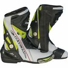 Richa Blade Waterproof Race Leather/Textile Motorcycle Boots White/Black/Fluo