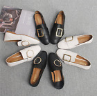 Women Fashion SquareToe Buckle Strap Slip On/Slippers Flats Loafers Casual Shoes