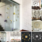 DIY 3D Large Sticker Wall Clock Self-adhesive Home Decor Mirror Living Room Art
