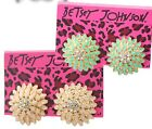Women Fashion Betsey Johnson fabulous Sunflower Rhinestone Crystal Stud Earrings