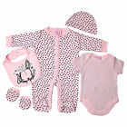 5 Piece Baby Girls Clothing Outfit Layette Gift Set in Pink Hearts Rabbit NB-3-6
