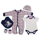 5 Piece Baby Girls Clothing Outfit Layette Gift Set in Red/Navy Floral Print