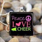 """PEACE LOVE CHEER"" CHEERLEADER PRIDE GLASS TILE PENDANT NECKLACE KEYRING"