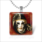 HARLEQUIN MASK DRAMA THEATER GLASS PENDANT NECKLACE