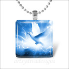 """DOVE OF PEACE"" ANGEL BIRD HEAVEN GLASS TILE PENDANT NECKLACE KEYCHAIN"