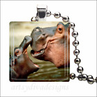 """KISSING HIPPOS"" MOTHER BABY HIPPOPOTAMUS LOVE GLASS PENDANT NECKLACE KEYRING"