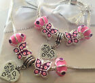 Girls pink purple butterfly charm bracelet necklace set 1 Choose charm gift box