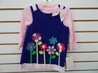 Infant & Girls Bonnie Jean 2pc Purple Floral Corduroy Jumper Set Size 18mo - 6