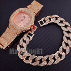 MEN HIP HOP ROSE GOLD PT FULL ICED OUT LAB DIAMOND WATCH & CUBAN BRACELET SET  image