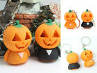 Halloween Theme Pumpkin Unisex LED Light Keychain Pendant With Sound Key Ring