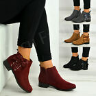 New Womens Side Bow Zip Ankle Boots Ladies Low Heel Casual Shoes Size Uk 3-8