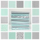 Mint and Grey Geometric 100% Cotton Fabric Dot Cloud Arrow Triangle Okeo-tex
