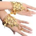 Belly Dance Triangle Slave Bracelet Gold Coins, Gypsy Jewelry Dance Accessories