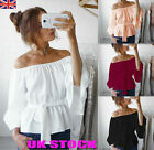 UK Womens Off The Shoulder Summer Tops Ladies Blouses Casual Stretch T Shirts