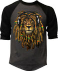 Men's Dreadlocks Rasta Lion Charcoal Baseball Raglan T-Shirt Reggae Jamaican EDM