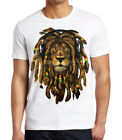 Men's Dreadlocks Rasta Lion White T Shirt Reggae Jamaican Rave Dance Weed Kush