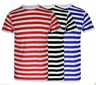 Mens Boys Red And White Stripe Tshirt Top Black White Blue Shirts Book Week Lot