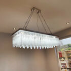 Modern K9 Crystal LED Rectangular Pendant Ceiling Light Chandelier + Remote Ctrl