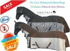 2 in 1 Dual Fly Sheet Turnout Rug with Waterproof Topline Fixed Combo Neck Sizes