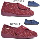 Ladies Orthopedic Bootee Wide Fit Washable Easy Fasten Sizes UK 3-8 Wine or Navy