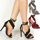 Womens Ladies Lace Up Frill Ruffle Party Prom Stiletto Peep Toe High Heel Sandal