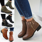 New Flat Ankle Boots Casual Buckle Side Zip Low Heel Womens Ladies Shoes Sizes