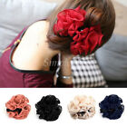 Women Chiffon Rose Flower Bow Jaw Clip Barrette Hair Claw Accessories Decoration