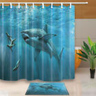 Sharks and seals Shower Curtain Bathroom Waterproof Fabric & 12hooks 71*71inches