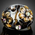 Black Floral Crystal Oil Painting Party Ring for Women Lady Girl MJ0158