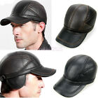 mens winter baseball caps - Baseball Caps Winter Hats For Men Leather Aviator Trapper Hat With Earmuffs Boys