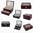 10 12 20 Slots Wood&Leather Watch Box Display Glass Top Jewelry Case Organizer A image