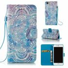 3d Pu Leather Wallet Case Flip Cover Kickstand Card Slot For Phones Blue Mandala