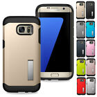 For Samsung Galaxy S7 / S7 Edge Slim Hybrid Hard Rubber Case Cover with Stand