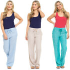 LADIES TWO TONE LINEN LONG TROUSERS SUMMER VARIOUS COLOURS NEW SIZES UK 10-18